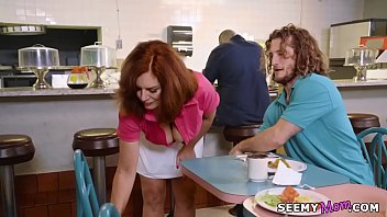 Saggy titted older waitress fucks y. guest