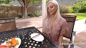 shaved petite blonde Elsa Jean gets drilled after her yoga class in POV