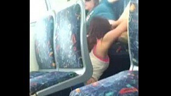 Hot lesbian pussy lick caught on bus