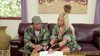 Girls in military uniform blowjob have