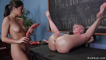 Brunette Asian student Kendra Spade anal toys bent over table huge tits blonde MILF professor Dee Williams then anal fucks her with strap on cock in classroom