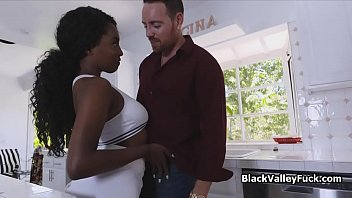 Black bombshell Daya got some amazing big natural breasts and she loves to expose them before getting drilled hard.