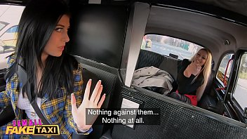 Female Fake Taxi UK lesbians in a taxi fucking