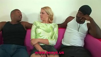 Naked blonde babe interracial sex
