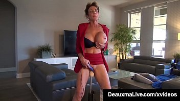 Watch Busty Cougars Deauxma & Savannah Steele stuffs their mature muffs with a big dildo fuck machine that pounds them to orgasm! preview