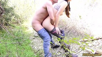 HORNY NERD GETS FUCKED IN THE WOODS AND MILKS CUM INTO HER MOUTH