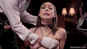 Butler drags French maid in the upper floor and anal fucks her in bondage threesome