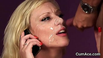 Frisky model gets jizz load on her face swallowing all the load