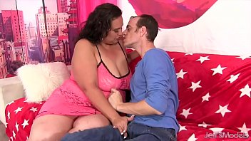Fat woman takes thin guys big cock
