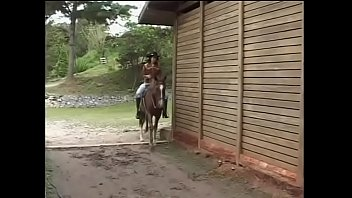 Charming brunette cowgirl gets drilled by sunburnt  stable boy in Grek fashion