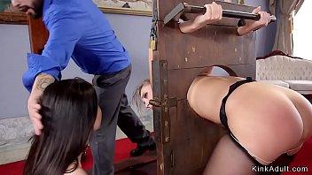 Gagged slut Yhivi banged from behind in threesome bdsm