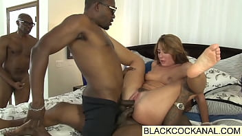 Black monster cocks double penetrate white slut