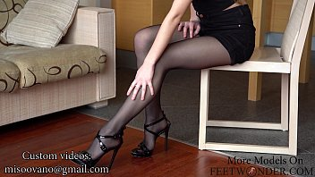 Girl Shows Her Sexy Legs And Feet In Black Pantyhose Thumbnail