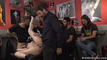 Watch Petite small tits European slave Nora Barcelona brough to public bar with bare tits and there made_gangbang fuck preview
