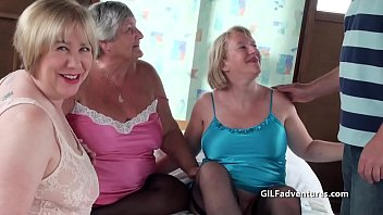 3 grannies with one guy