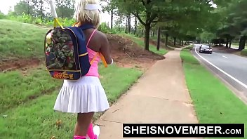 Young Ebony Sucking Old Cock Stranger In Public Giving Blowjob While Kneeling With Her Large Natural Breasts and Areolas Out Of Her Top, Sheisnovember Then Walks While Flashing Her Panty During Upskirt With Curvy Hips by Msnovember