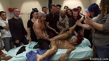 After woke up from coma dude got surprise as hot ebony slave Daisy Ducati in hospital and there her mistress suctioned her nipples and clit in group