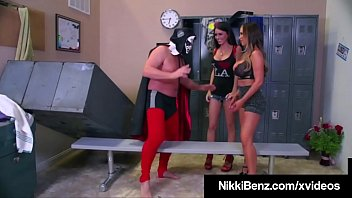 Big Boobed Babes, Nikki Benz & Jessica James, blow & bang a pro wrestler in the locker room! These two tag teamers milk this fighting man's cock to get that cum! Full Video & More @ NikkiBenz.com! Thumbnail