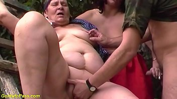 chubby horny 80 years old grandma gets rough fucked in her first outdoor threesome fuck orgy