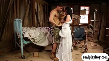 Big tits brunette girl in white dress gives head and pounded in a messy room