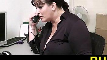 Fat woman rides a boss penis