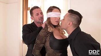 Intense BDSM threesome satisfies submissive Victoria Summers craving for two dicks