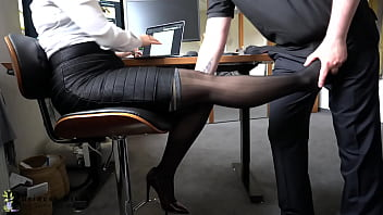 sexy business woman used for nylon foot job - cumshot on her soles