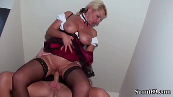 German StepSon want his First Sex and Seduce Huge Natural Tits Mom in Stockings Thumbnail