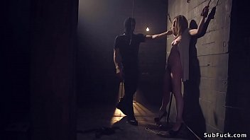 Brunette hottie Lily LaBeau gets rope bondage in basement by her date and then mouth and asshole fucked by his huge dick balls deep Thumbnail