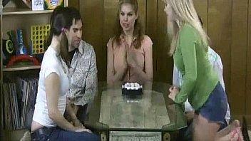 3 girls and two guys playing a strip game