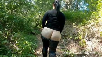 Round Bottom Milf In See Through Tights Walking Through Public Park