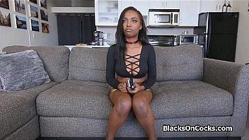 Lovely bigtit black sucks on audition