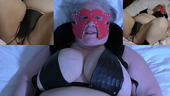 Skycam view of granny t. with needles of her cunt and tits