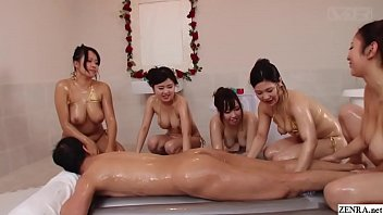 Watch JAV thick women BBW soapland harem sex party_featuring five extra curvy women treating a very lucky client in HD with English subtitles preview