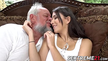 Teenie has a fuck session with old man Thumbnail