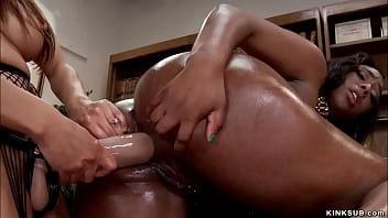 Big boobs small brunette MILF therapist has big booty ebony lesbian sex addict in her office and she cures her with anal sex and huge strap on cock
