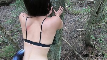 Forest sex with tail butt plugged lady