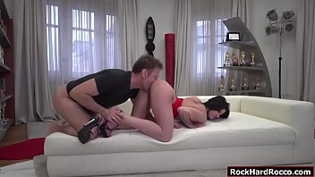 Rocco Siffredi casting busty Emily Brinx. She pulls out Roccos big dick and then sucks it. In return Rocco licks and fingers her ass before fucking her wet pussy deep and hard. Thumbnail