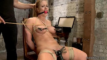 Watch Big tits blonde Milf slave gagged with applied clapms on nipples and pussy sitting and getting vibrator on clit preview