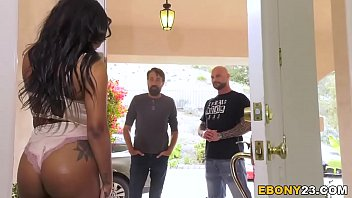 Ebony Cali Caliente Tries To Survive Rough Threesome Sex