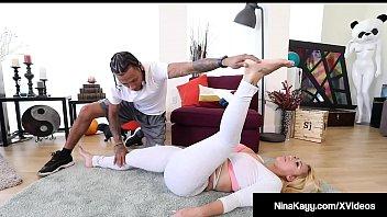 Ass Hottie Nina Kayy stretches with Black Yoga_Instructor Macana Thumbnail