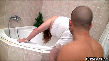 Hot bbw fucked in the bathroom by teenager