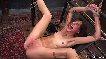 Brunette slut  gets mouth fucked and spanked
