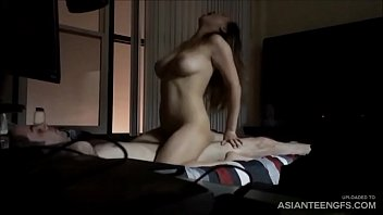(AMATEUR) Big-titted Asian girlfriend fucks a white dick