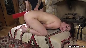 Watch Land owner Tommy Pistol caught trespassing student Juliette March and then tied up her against fireplace and whipped then fucked preview
