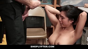 Sexy Asian shoplifter forced to...