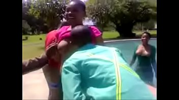 black girls party naked in pool