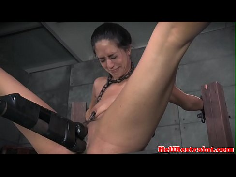 Chained bdsm sub clamped and toyed by maledom
