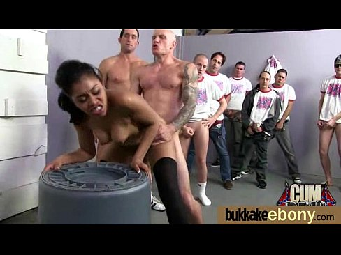Interracial bukkake sex with black porn star 30