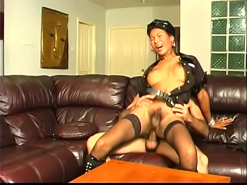Young busty tranny rides strong cock then gets facial